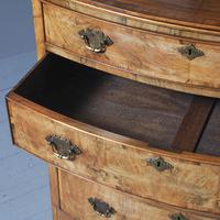 Georgian Style Walnut Bowfront Chest on Stand (4 of 11)