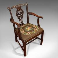 Antique Carver Chair, English, Mahogany, Needlepoint, Elbow, Chippendale Style (6 of 12)
