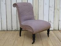 Antique French Slipper Fireside Chair For Re-upholstery (5 of 9)