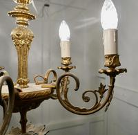 Gilded Brass 5 Branch Rococo Style Chandelier (8 of 8)