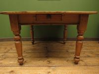 Antique Country Pine Plank Top Table with Drawer, Kitchen Dining Table Seats 4 (5 of 10)