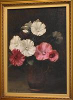Still Life Oil Painting of Hollyhocks by Alfred Frederick William Hayward (4 of 7)