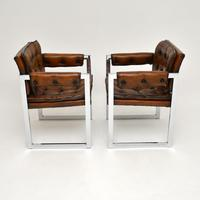 Pair of Vintage Leather & Chrome Armchairs (4 of 15)
