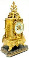 Superb Antique French Ormolu Mantel Candelabra Clock Set Embossed Decoration Finial 8 Day Striking (9 of 15)