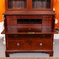 Secretaire Bureau Bookcase Astragal Glazed Mahogany (7 of 17)