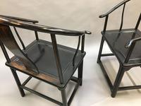 Pair Chinese ebonised horseshoe chairs (11 of 11)