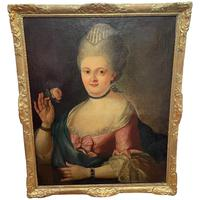 18th Century Oil Painting Portrait Lady In Pink Silk Dress Holding A Rose (2 of 62)