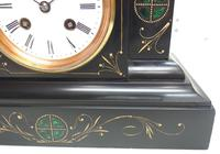 Very Fine French Slate & Marble Mantel Clock Classic 8 Day Striking Mantle Clock (4 of 13)