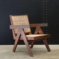 Low Easy Armchair, V-type Legs and Cane by Pierre Jeanneret (3 of 5)