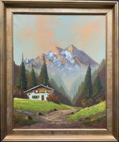 The Alpine Chalet - Swiss School - A Vintage Snow-capped Landscape Oil Painting