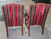 1900s Pair of Mahogany Club Armchairs with Red Stripe Seats (3 of 3)