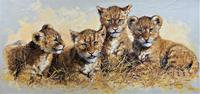 Exceptional 'pride Of Lion Cubs' Large Wildlife Oil Painting By 'silvia Duran' (2 of 12)