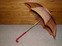 Antique Red / Orange Patterned Canopy Umbrella W/Red Velvet Handle & Canopy Cover (3 of 14)