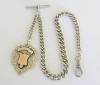 Antique Silver Watch Chain & Large Fob