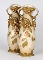 Royal Dux Bohemian Art Nouveau Pair of Ceramic Fruiting Berry Vases c.1900 (2 of 2)