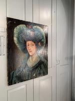 Antique Spanish oil painting study of a society lady with bonnet (10 of 10)