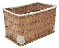 Vintage large strong cane and pig skin log or storage basket (7 of 8)