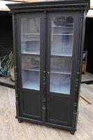 Fabulous Old Pine / Black Painted Glazed Cupboard / Display Cabinet - We Deliver! (3 of 12)