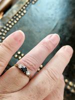 Art Deco 18ct Gold Platinum Sapphire Diamond Trilogy Ring (10 of 11)