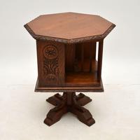 Small Antique Arts & Crafts Oak Revolving Bookcase (3 of 10)