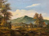 Large Early 20th Century Antique English Autumn Countryside Landscape Oil Painting (3 of 11)