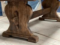 Larger French Bleached Oak Trestle Farmhouse Dining Table (5 of 21)