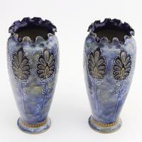 Pair of Royal Doulton Stoneware Art Nouveau Vases by Eliza Simmance c1903 (6 of 11)