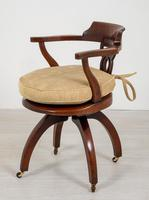 Victorian Mahogany Swivel Office Chair (3 of 8)