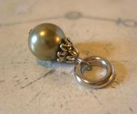 Vintage Pocket Watch Chain Fob 1950s Victorian Revival Silver Chrome & Pearl Fob (3 of 7)