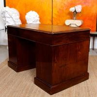 Mahogany Leather Desk 19th Century Victorian Kneehole Twin Pedestal (14 of 14)
