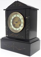 Good Slate & Marble Mantel Clock 8 Day Striking Mantle Clock (4 of 9)