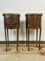 French Marquetry Bedside Tables Oval Cabinets with Marble Tops (2 of 12)
