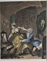 William Hogarth, Pair of Original Prints, Later Hand Colour, Before and After Engraved 1736 (2 of 10)
