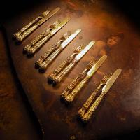 Antique Victorian Solid Silver Gilt Fruit / Dessert Knives & Forks Set of Six in Queens Pattern - Aaron Hadfield 1839 (17 of 32)