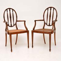 Pair of Antique Satinwood Cane Seated Armchairs