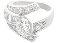 3.24ct Diamond & Platinum Cocktail Ring - Art Deco c.1935 (4 of 9)