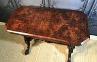Victorian Burr Walnut Stretcher Table (5 of 9)