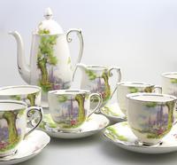 Art Deco Swan Lake Porcelain Roslyn Peacehaven Coffee Set c.1930 (2 of 10)