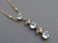 9ct Gold, Blue Zircon & Pearl Necklace (3 of 7)