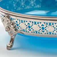 Large Victorian Circular Blue Opeline Glass Lined Silver Plated Basket (5 of 6)