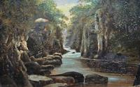 Small Original 19th Century Victorian Woodland River Landscape Oil Painting (2 of 12)
