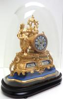 Stunning Complete French Mantel Clock Under Dome with Base Figural Sevres Mantle Clock. (6 of 10)