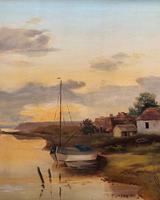 'the Estuary At Sundown' A Large Superb Original Vintage Seascape Oil Painting (9 of 12)