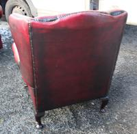 1960s Chesterfield Red Leather Wing Back Armchair with Union Jack on Seat (2 of 3)