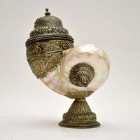 Antique Anglo Indian Silver Mounted Nautilus Shell Cup (18 of 21)