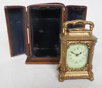 Antique Travelling Miniature Carriage Clock - Original Leather Case Made of Gilt Metal with Enamel Dial Mantel Clock (5 of 12)
