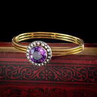 Antique Victorian Amethyst Diamond Bangle 15ct Gold c.1880 (7 of 7)