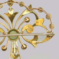 Edwardian 15ct Gold Peridot & Pearl Pendant Antique Art Nouveau Brooch Circa 1910 (6 of 12)