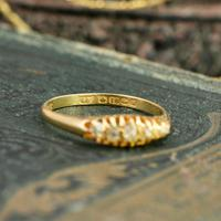 The Antique 1921 Old Cut Five Diamond Ring (5 of 8)