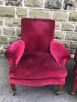 Pair of Antique English Upholstered Armchairs For Recovering (2 of 7)